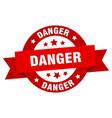 danger ribbon danger round red sign danger vector image vector image