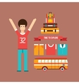 Excited happy young man road trip Vacation Travel vector image vector image