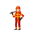 fireman in uniform with axe firefighter character vector image vector image