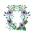 floral flowers wreath decoration ornament icon vector image vector image