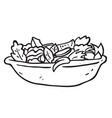 freehand drawn black and white cartoon salad vector image