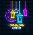 glowing neon ramadan holy month sign on dark vector image vector image