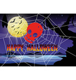 Halloween theme with spider web and skull vector image vector image