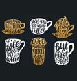handwritten coffee phrases set coffee vector image vector image