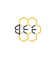 honeycomb with bee text logo icon design vector image