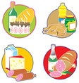 Icons with foods and drinks vector image vector image