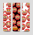 japanese daruma dolls bookmarks vector image vector image