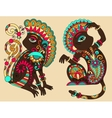 line art drawing of two ethnic monkey in vector image vector image