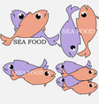 logo sea food from colored fish with the vector image vector image