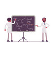 male black scientist at the blackboard vector image
