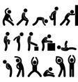 man athletic exercise stretching symbol pictograph vector image vector image