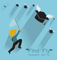 man jumping to find graduation cap flying vector image