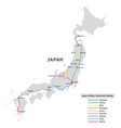 map high speed train network in japan vector image