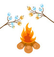 marshmallow on tree branches cooked on bonfire vector image vector image