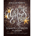 merry christmas party poster with lettering vector image vector image
