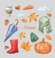 nice autumn set vector image vector image