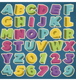 retro 3d alphabet and numbers vector image vector image
