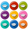 Round buttons with lips vector image vector image
