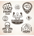 set fighting club emblems mma boxing labels vector image