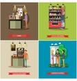 set of coffee cash concept design elements vector image