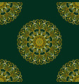 simple gold circular pattern on dark green vector image vector image
