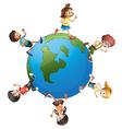 six kids walking around planet earth vector image vector image