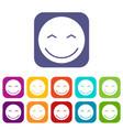smiling emoticons set vector image