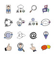 social network icons set cartoon vector image vector image