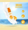 sunscreen milk with citrus extract vector image vector image