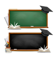 two banners chalkboards with school supplies vector image