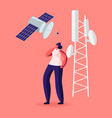 woman character stand near transmission tower with vector image