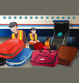 workers loading luggage into an airplane in the vector image vector image