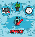 office flat concept icons vector image