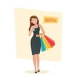 Young woman with shopping bags vector image