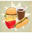Retro background with fast food vector image