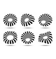 3d circular striped logo set distort shapes vector image