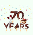 70 years happy birthday card vector image vector image