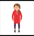 angry girl in a red hoodie vector image vector image