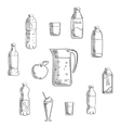 Beverages and drinks sketches set vector image