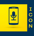 blue mobile recording icon isolated on yellow vector image