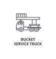 bucket service truck line icon sign vector image vector image