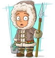 Cartoon eskimo boy with spear and fish vector image vector image
