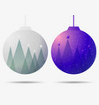 christmas ball with falling snow and fir trees vector image vector image