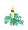 Christmas candle on spruce branch with pinecone vector image