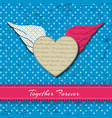 colored winged heart composition vector image vector image