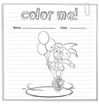Coloring worksheet with a clown vector image vector image