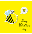 Cute cartoon bee and speech bubble with heart vector image vector image