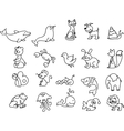 Cute cartoon icon set vector image vector image