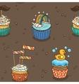 Cute cupcake pattern vector image