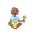 cute smiling baby boy african american boy sitting vector image